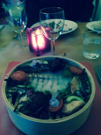 Restaurant Chez Amis: The Thai Fish cakes and mackeral with liquid nitrogen! Deliscious and theatrical!