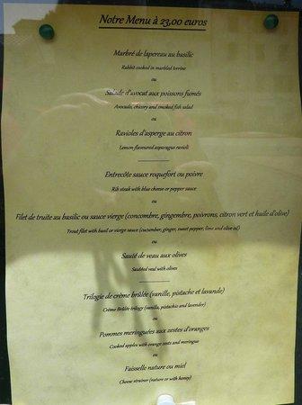 Hotel du Levant : Menu à 23 euros