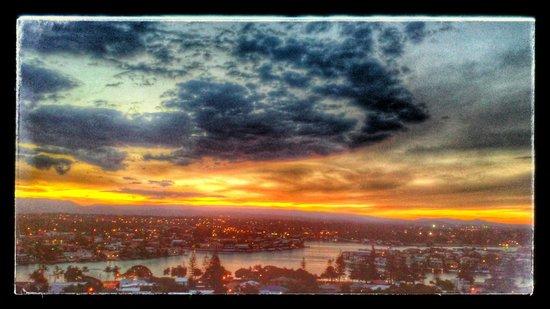 QT Gold Coast: SUNDOWN - view from western-facing room (April)