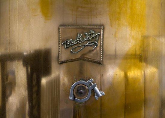Blackwater Distilling: The Blackwater logo on the 500-gallon still