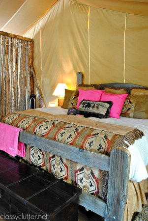 The Resort at Paws Up: Glamping tent - made up in pink for our girls trip!