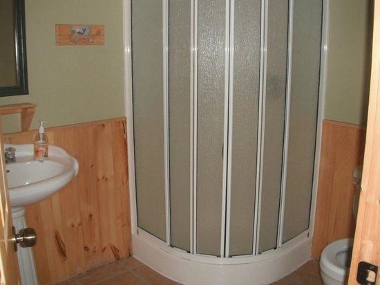 Auberge Beaux Reves Et Spa (Sweet Dreams Inn) : douche en coin salle de bain