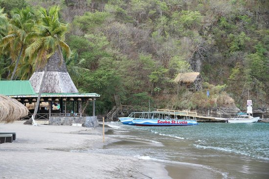 Anse Chastanet beach area with bar-restaurant and SCUBA