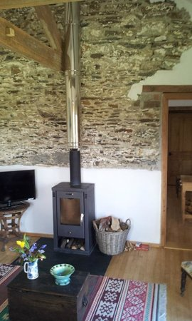 Wonwood Barton B and B: the cosy wood burner in the room