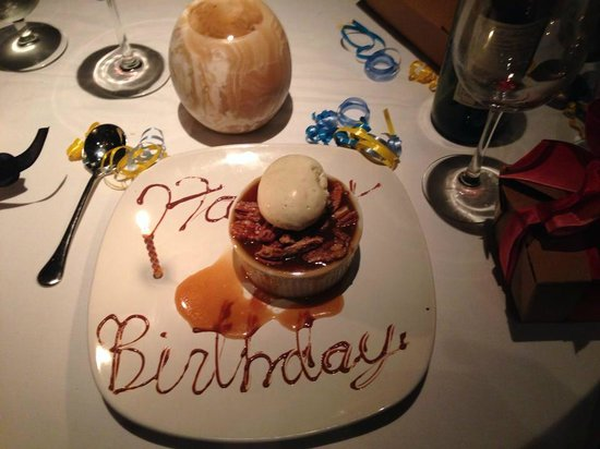 Restaurant Iris : Birthday bread pudding - yummy!