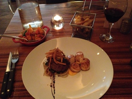 Charcoal Steakhouse: Surf n Turf: Steak and Scallops, cooked to (my) perfection.