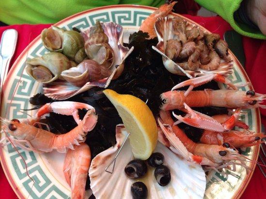 L'Ancrage : Assiette de fruits de mer.... Déjà entamée....:-)