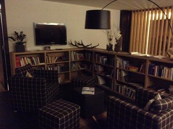 Saleghes Mountain Residence: Комната отдыха на втором этаже с библиотекой