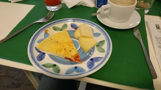 Hotel dell'Orologio : Part of our breakfast - freshly baked omlette and typical sicilian cheese