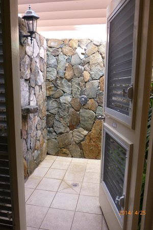 Sugar Mill Hotel: Our outdoor shower!  What a great experience.