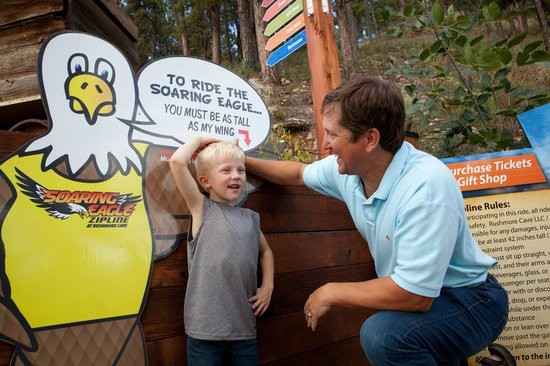 Rush Mountain Adventure Park: Just tall enough for the Soaring Eagle Zip Ride at Rushmore Cave.