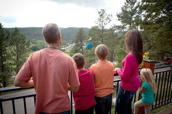 Watching the Soaring Eagle Zip Ride at Rushmore Cave.
