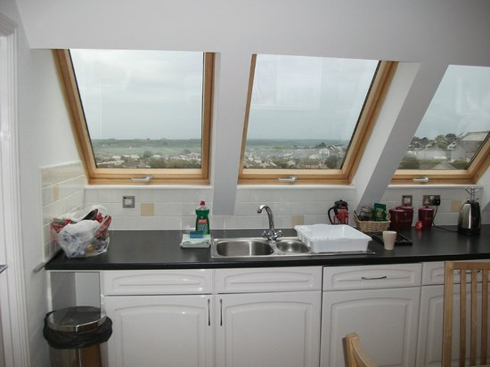Kernow Homes - Travel accommodation: Kitchen and spectacular views out to sea