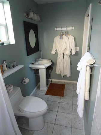 West Cliff Inn, a Four Sisters Inn: Our bath area in the Little Beach Bungalow from the shower area.