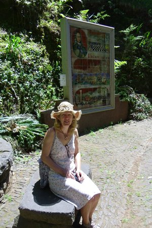 Monte Palace Tropical Garden : June with one of the history tiles behind her.