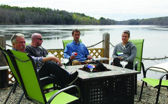 Bravos southwest Bistro : Fire Pit seating, just feet from the beautuful Kennebec River, Hallowell