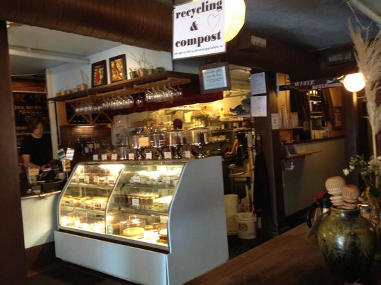 French Broad Chocolate Lounge: Service area and baked goods