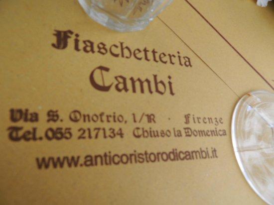 All'Antico Ristoro di Cambi : Fiaschetteria Cambi
