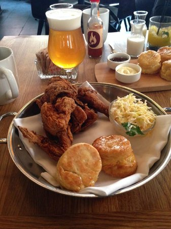 The Dutch : Hot Fried Chicken with honey-butter biscuits and slaw - SO GOOD!