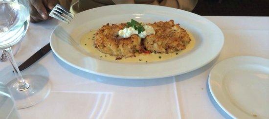 Ocean Prime : Jumbo Lump Crab Cakes, Sweet Corn Cream, Succotash