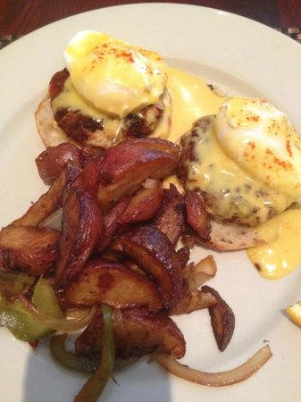 Eli's Table: Crabcake Benedict with ugly potatoes dominating