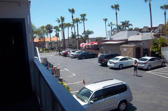 Surf Motel: This is the view from our room.  You can see the parking lot and the restaurant next door.