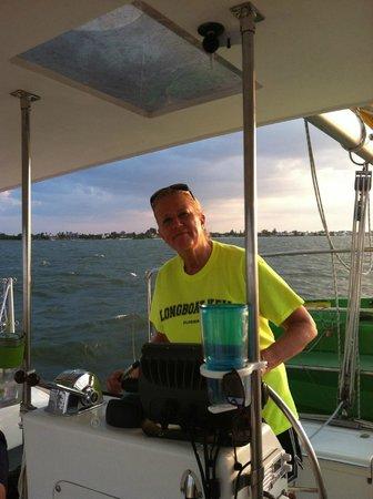 Kathleen D Sailing Catamarans: My sister @ the helm.