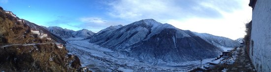 Tibet Highland Tours: Panorama view of Drigung til monastery in 2013  December(winter time)