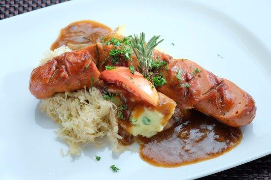 German Haus: Cheese Hungarian with original Sauerkraut and mashed potato