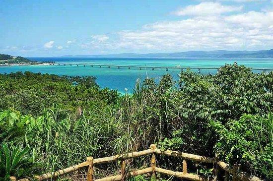 Kori Bridge: View from Distance on Okinawa Island
