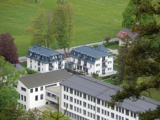 Hotel Villa Ludwig: view of hotel from the castle.  Hotel is smaller building close to road