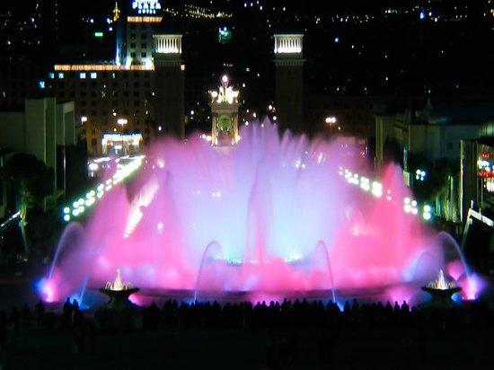 Barcelona Experience: Ethereal colors glow during a Magic Fountain show near Plaza Espanya.