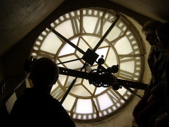 Bath Abbey: Clock face from the back