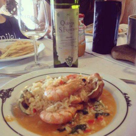 Restaurante Celeste : Um arroz de marisco muito bem servido com um branco bem fresco