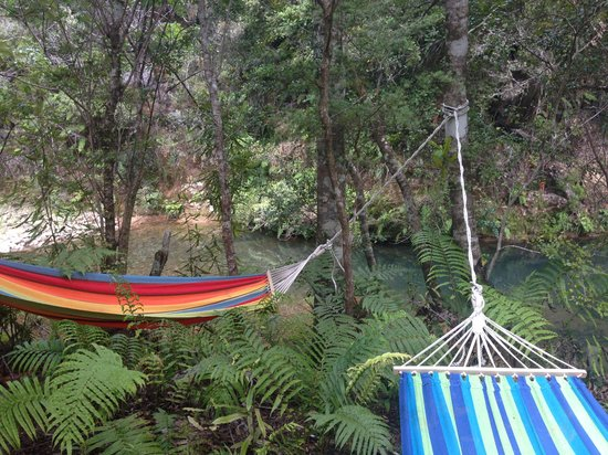Wairua Lodge - The Hidden River Valley : Hamac au bord des piscines naturelles