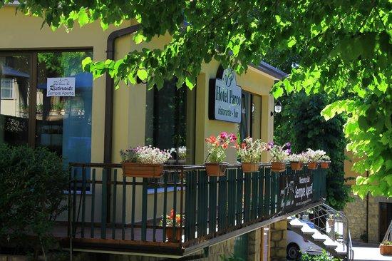 Albergo Ristorante Parco: una panoramica del giardino ,hotel,ristorante
