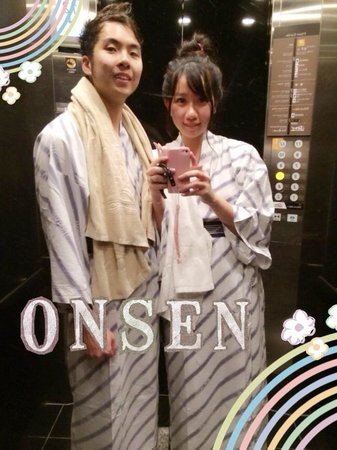 Apa Hotel Asakusa-Kuramae: Wearing the yukatas provided up to the public bath.