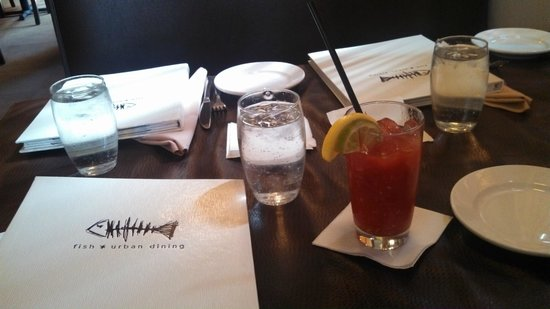 Fish Urban Dining: Table Setting with a Bloody Mary