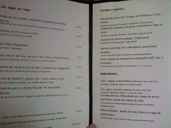 Café de Altamira: carta