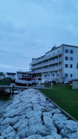 Chippewa Hotel Waterfront : View from the marina looking at the Chippewa.
