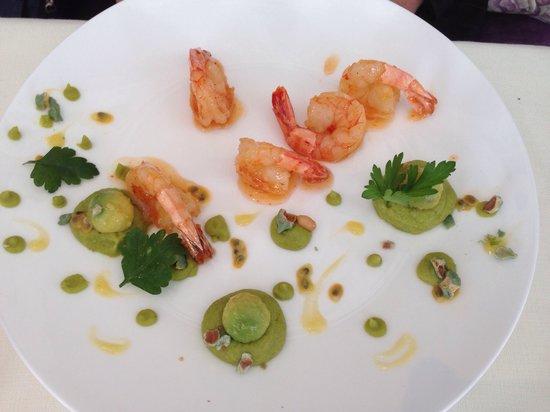 Les Saisons: Crevettes, sauce aigre-douce, avocat avec sa purée, wasabi