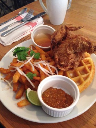 Fried Cornish hen/cornbread waffles