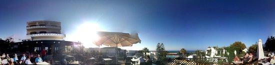 Nana Beach Hotel : View from Panorama Terrace Over main pool to beach