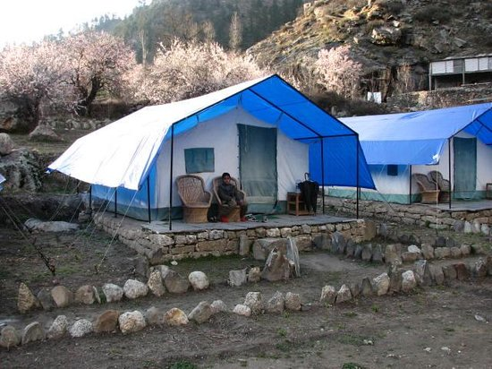 Kinner Camp Sangla: Our Son in front of the Camp.