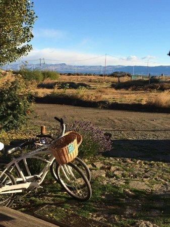 Cauquenes de Nimez : la vue à la sortie de l'hôtel avec les vélos