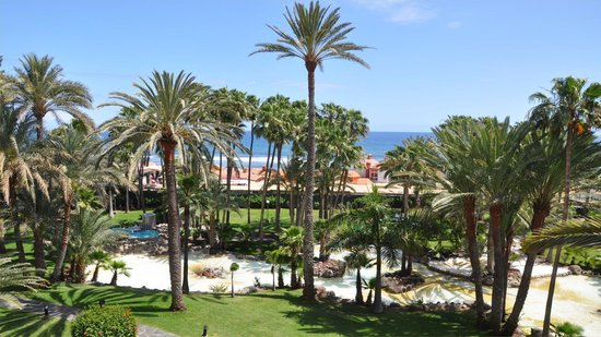 Hotel Riu Palace Oasis: View from the balcony over the garden with sea beyond