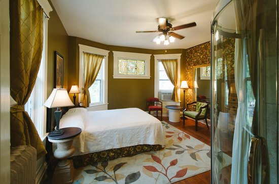 The Waller House Inn's Ruby Room has an ensuite bathroom with a roomy glass shower.
