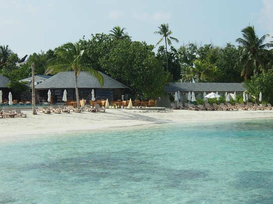 Centara Ras Fushi Resort & Spa Maldives : Beach and resturant