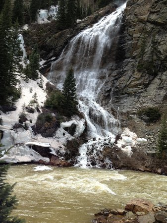 Durango and Silverton Narrow Gauge Railroad and Museum: Snowmelt waterfalls along the way