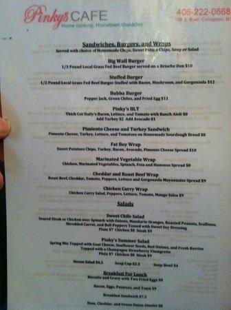Pinky's Cafe: Pinky's menu